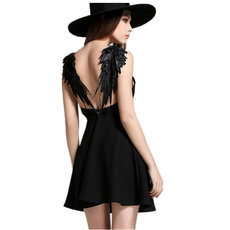 Halter Hollow Lace Angel Wings Dress
