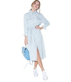 Casual Blue Turn-down Collor Shirt Dress